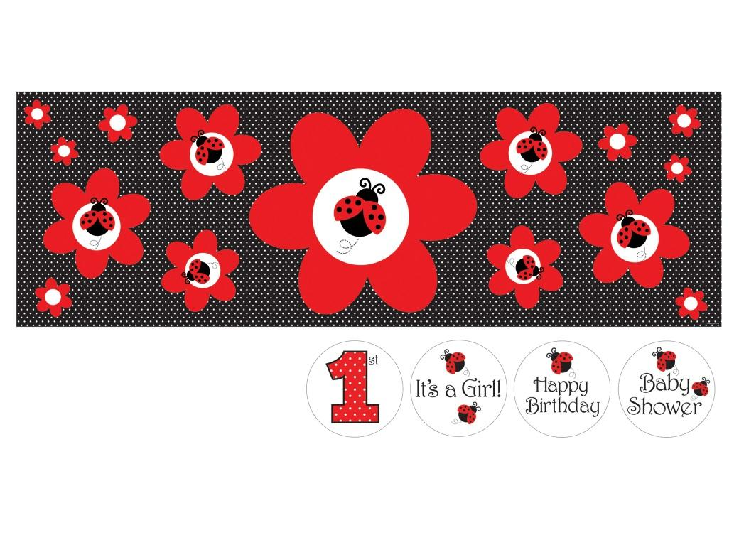 Ladybug Fancy Giant Party Banner with Stickers