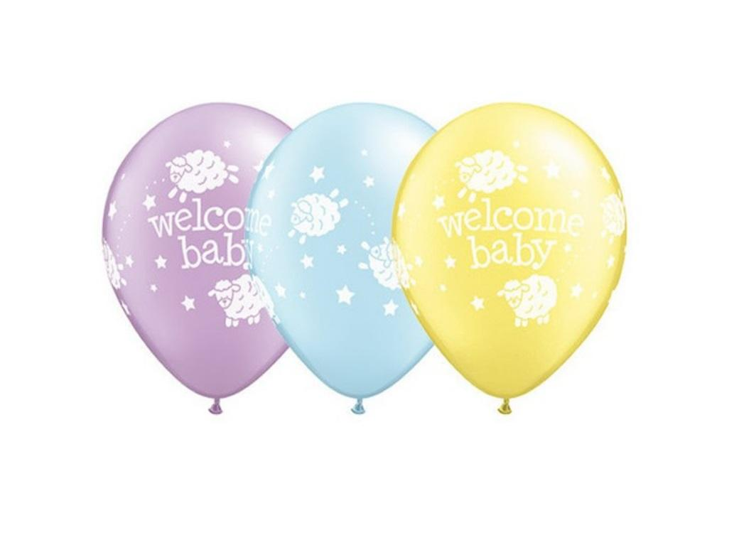 Welcome Baby Balloons - 5pk
