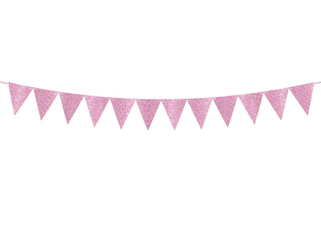 Large Glitter Pennant Banner - Light Pink