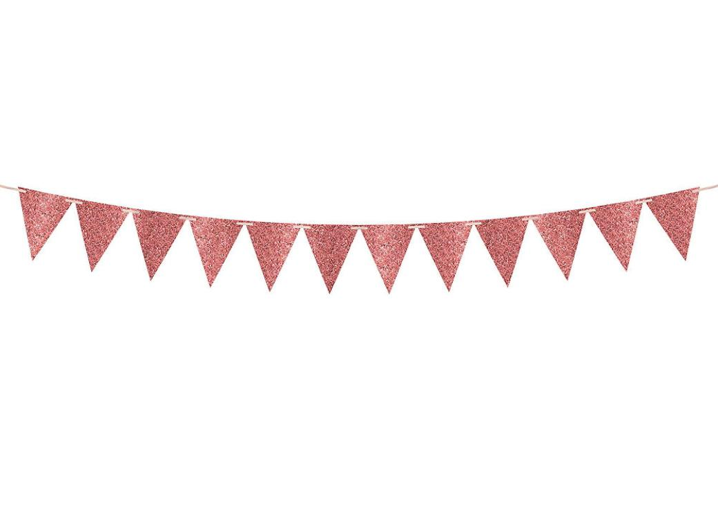 Large Glitter Pennant Banner - Rose Gold