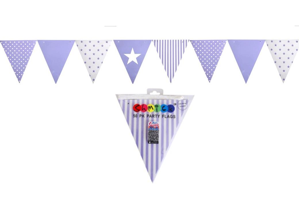 Lavender Paper Bunting Flags - 50pk