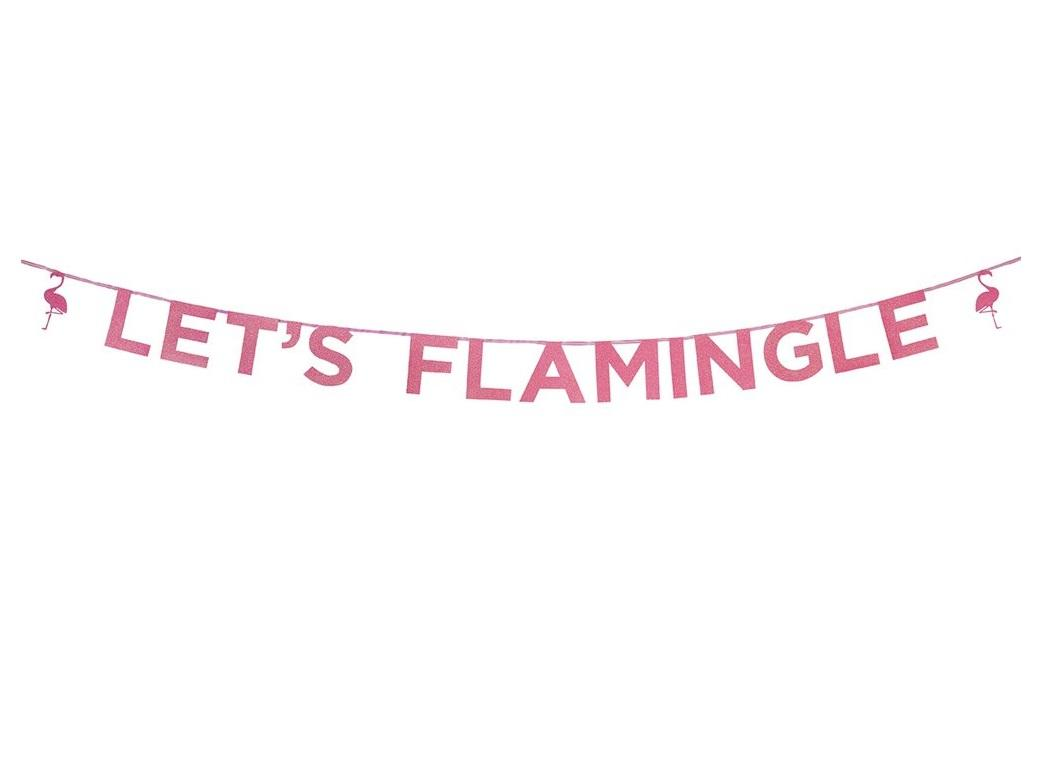Let's Flamingle Pink Glitter Garland