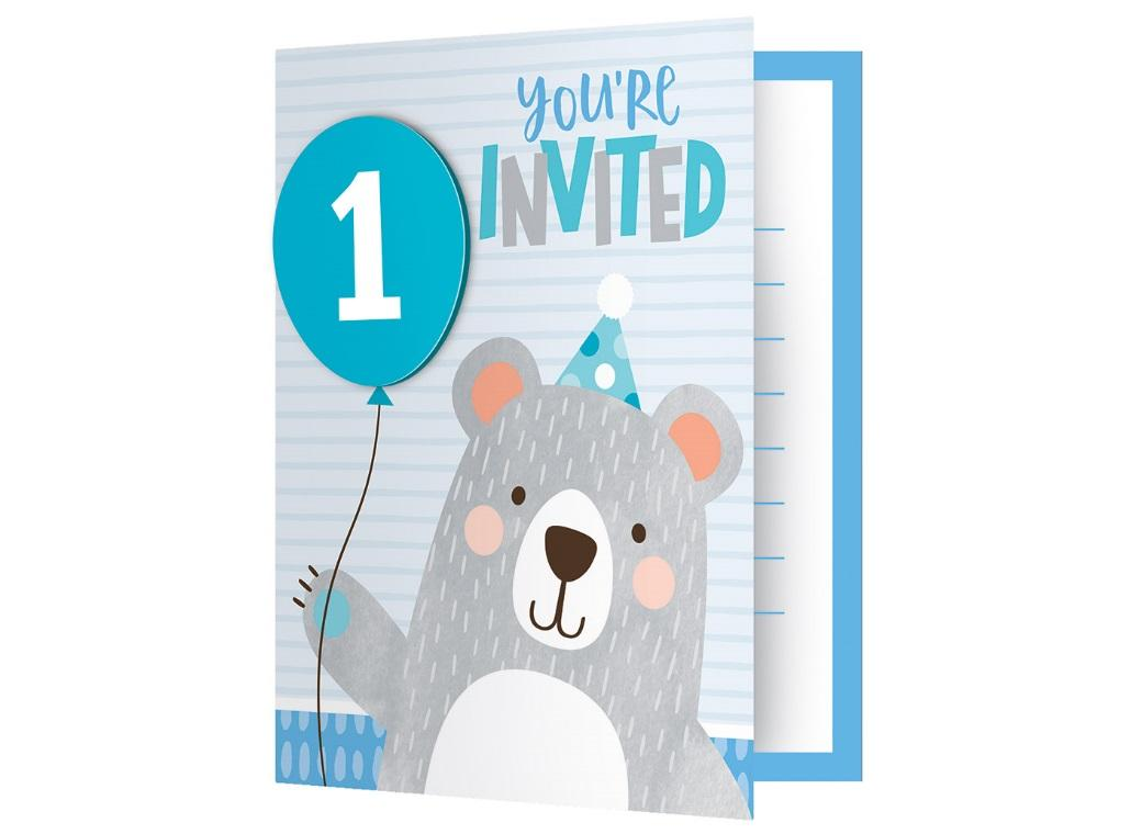 Lil Bear 1st Birthday Invitations 8pk