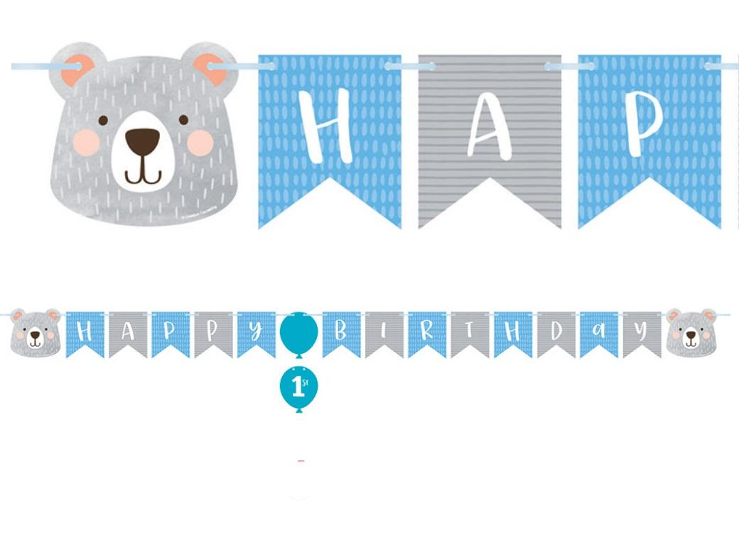 Lil Bear Happy Birthday Banner
