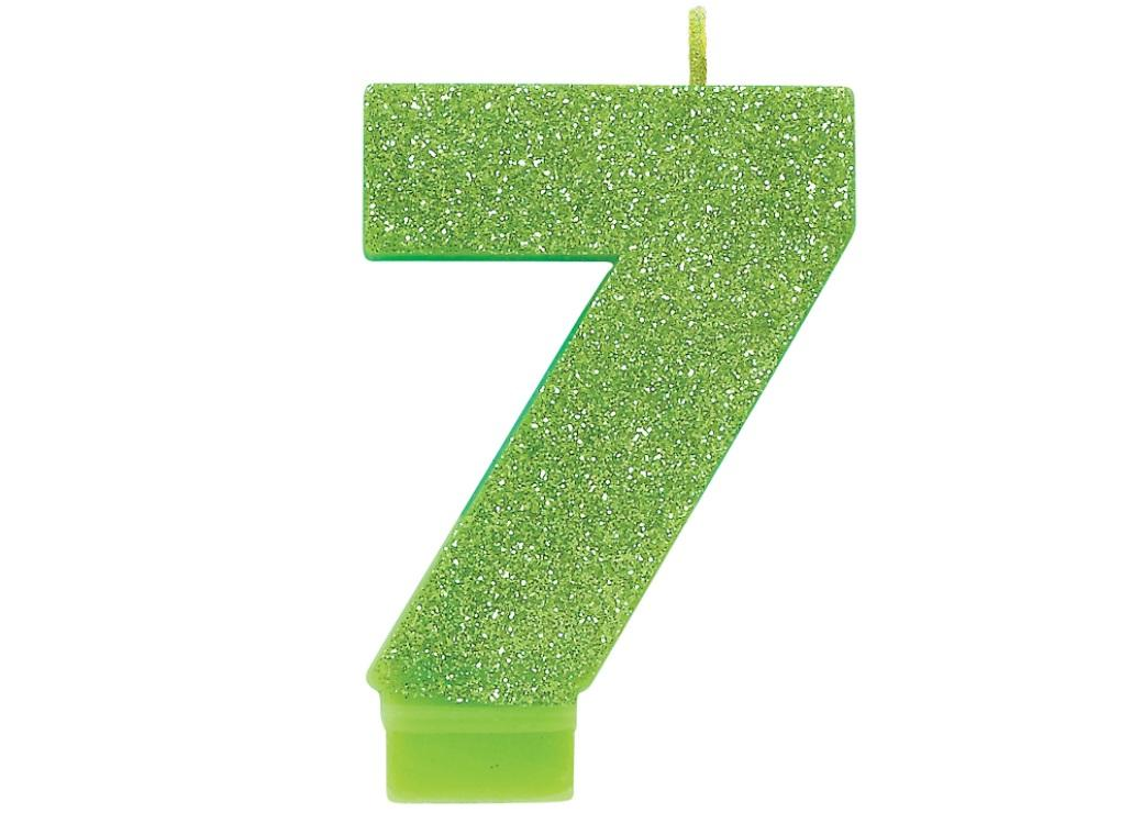 Lime Green Glitter Candle - Number 7