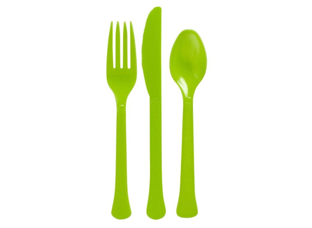 Lime Green Plastic Cutlery - 24pk
