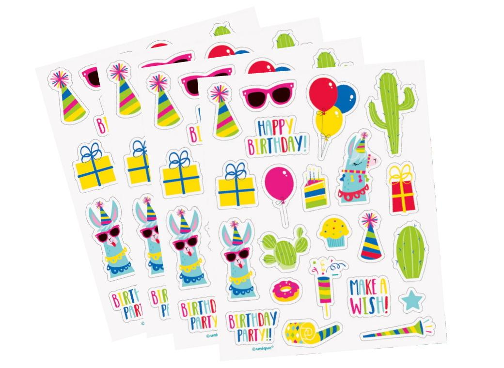 Llama Birthday Sticker Sheets 4pk