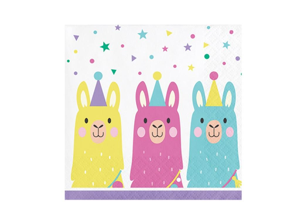 Llama Party Beverage Napkins 16pk