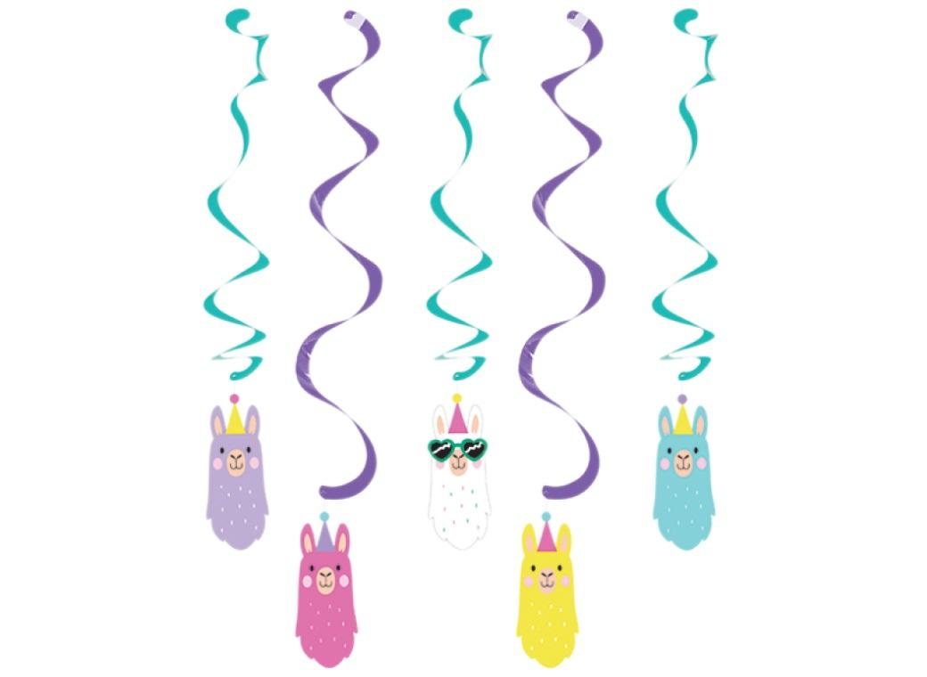 Llama Party Hanging Spiral Decorations