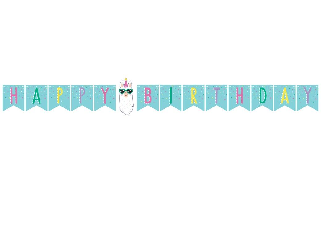 Llama Party Birthday Banner