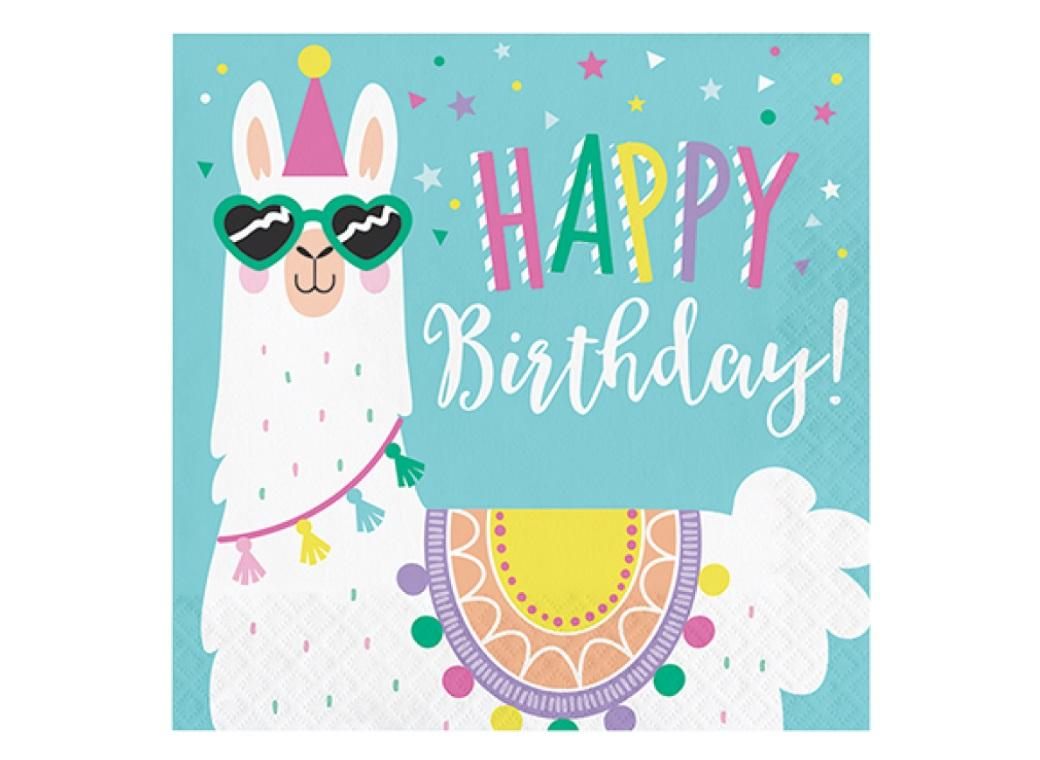 Llama Party Happy Birthday Lunch Napkins 16pk