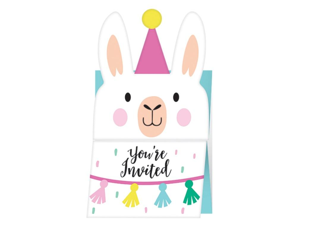 Llama Party Invites 8pk