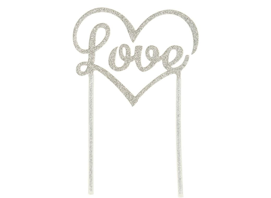 Love Cake Topper - Silver