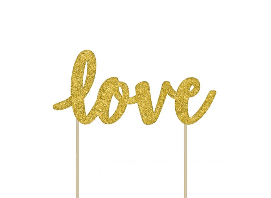 Love Cake Topper - Gold Glitter