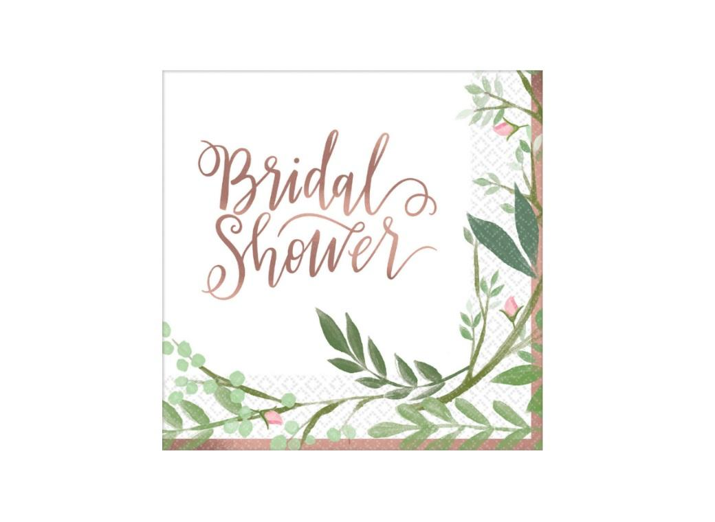 Love & Leaves Bridal Shower Beverage Napkins 16pk