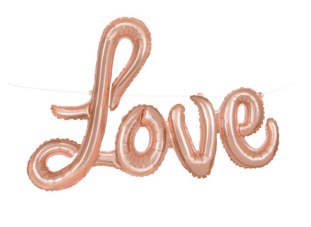 Love Script Balloon Rose Gold