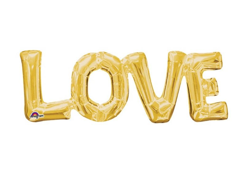 LOVE Shape Foil Balloon - Gold