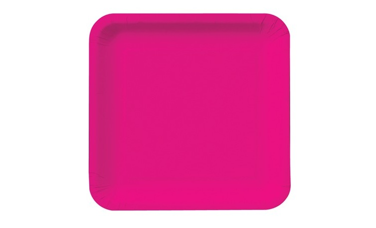 Dinner Plate Square - Hot Pink 12pk
