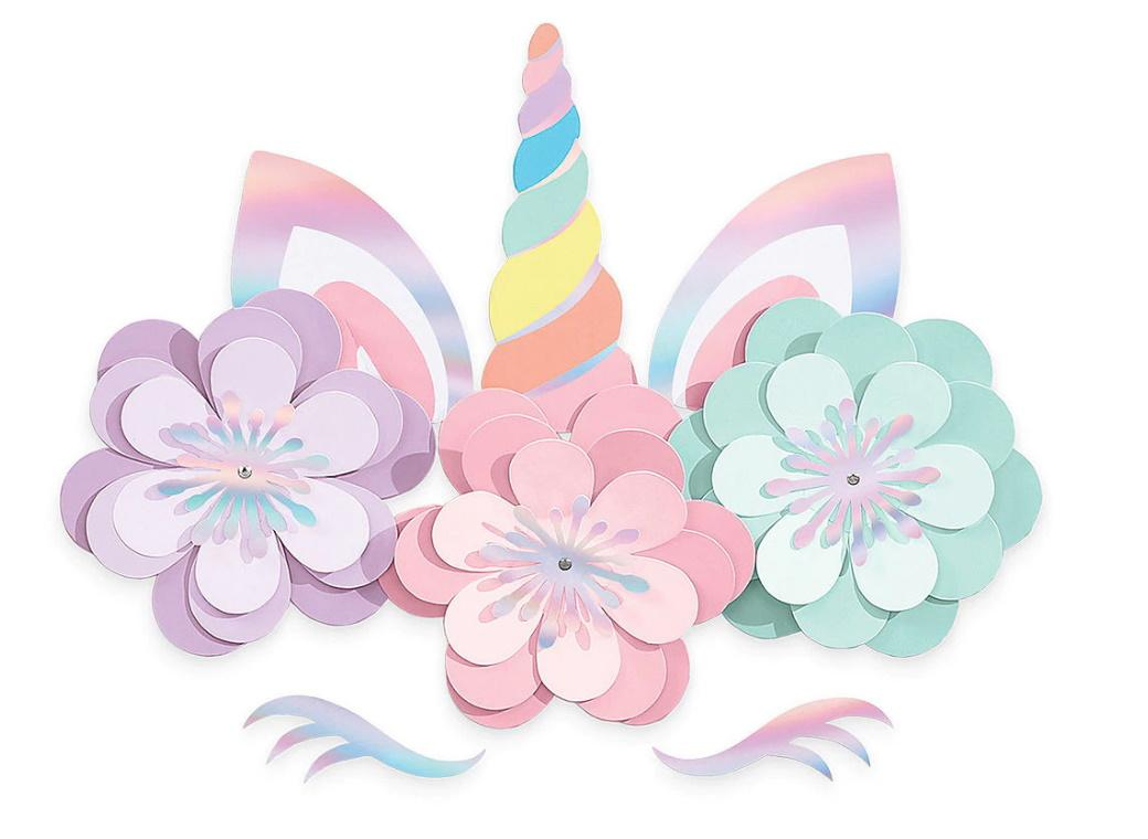Magical Rainbow Unicorn Floral Cutouts