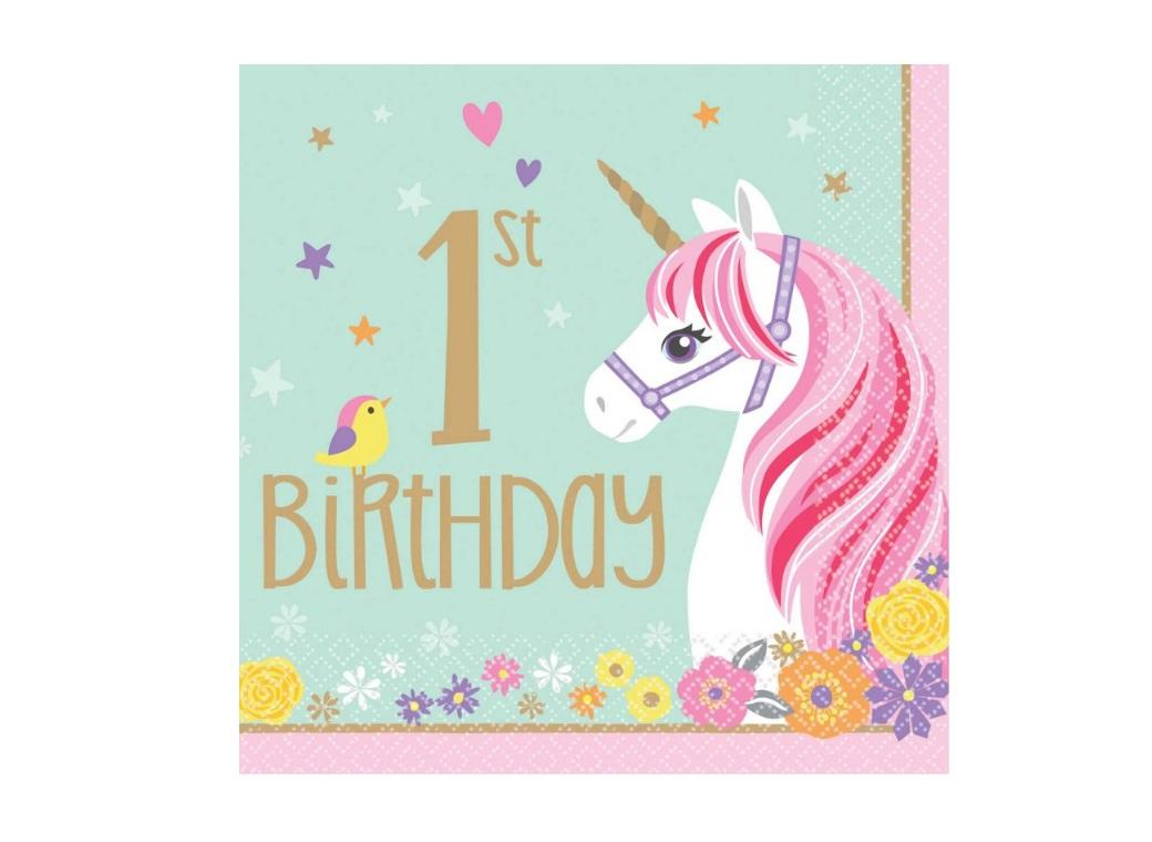 Magical Unicorn 1st Birthday Lunch Napkins 16pk