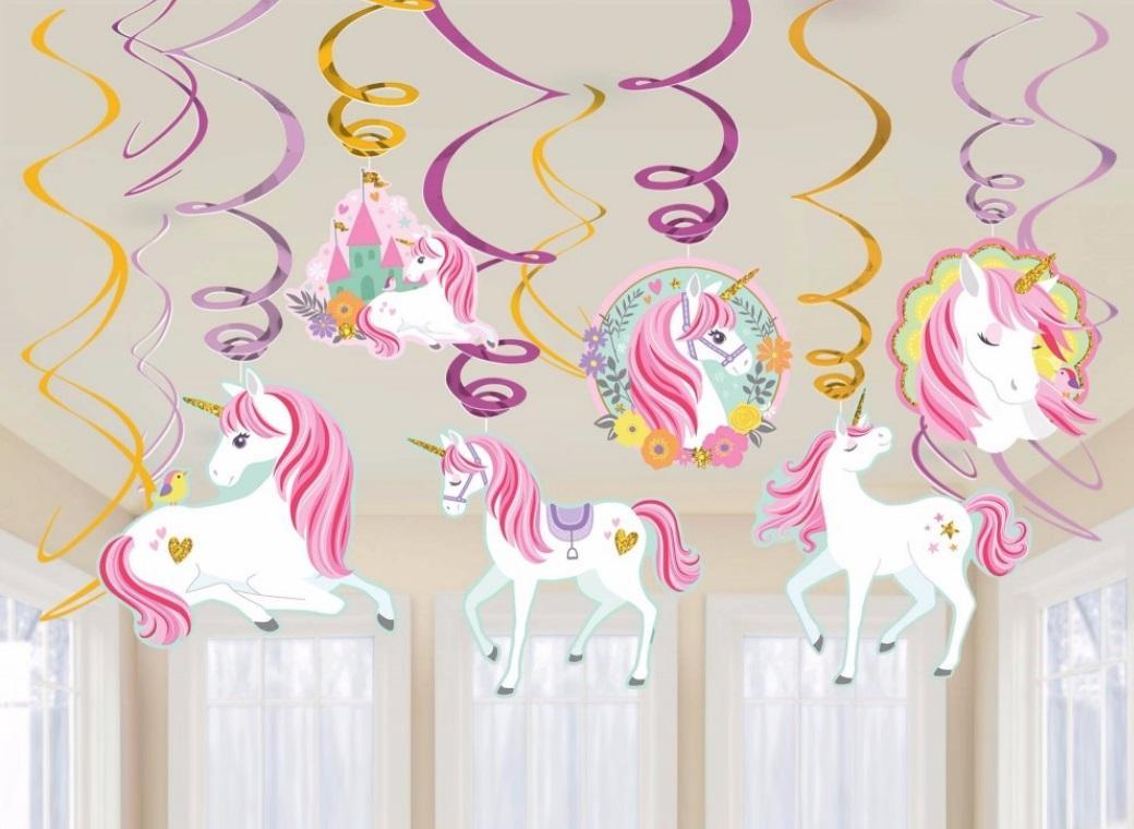 Magical Unicorn Hanging Swirl Decorations