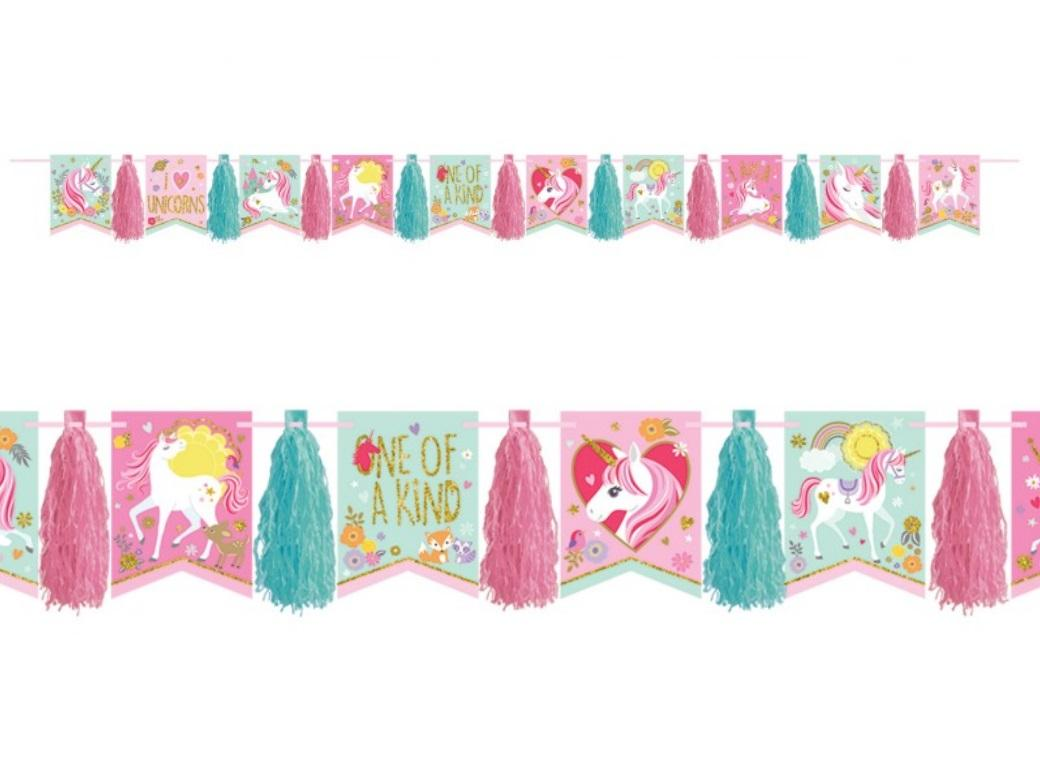 Magical Unicorn Pennant Banner with Tassels