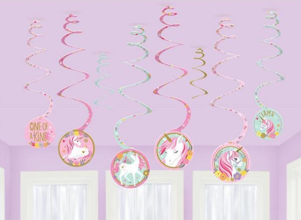 Magical Unicorn Spiral Swirl Decorations
