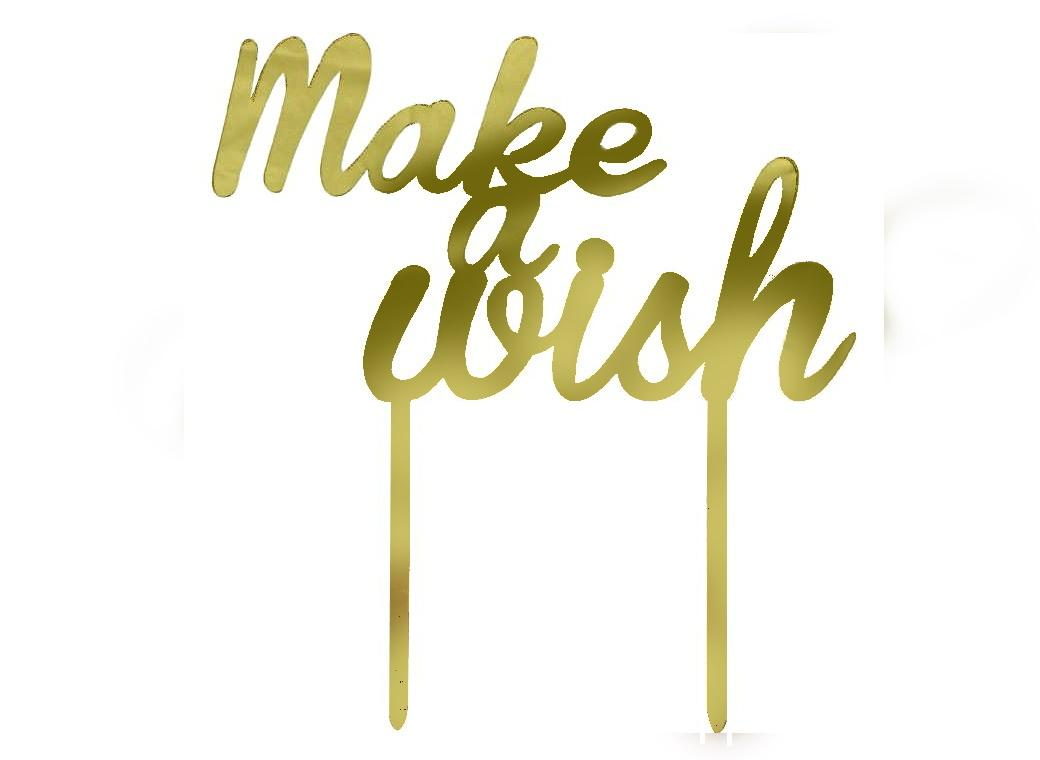 Make A Wish Gold Acrylic Cake Topper