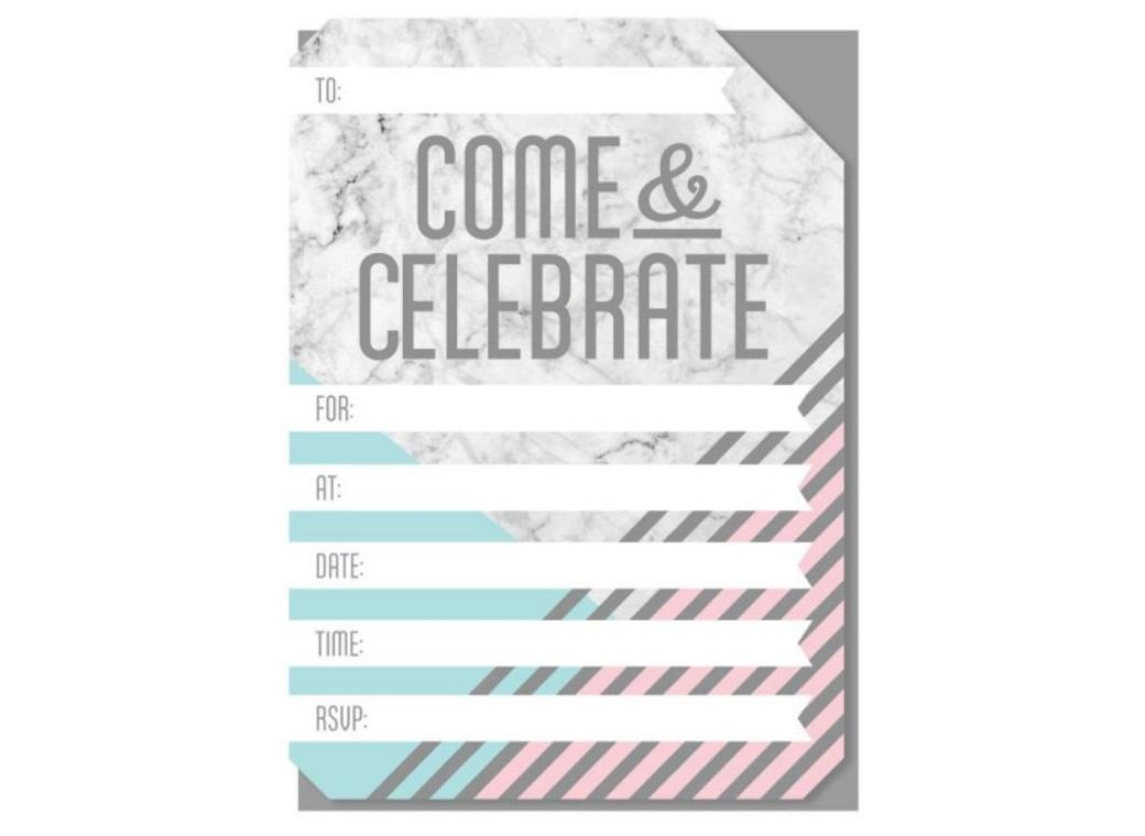 Marble Party Invitations