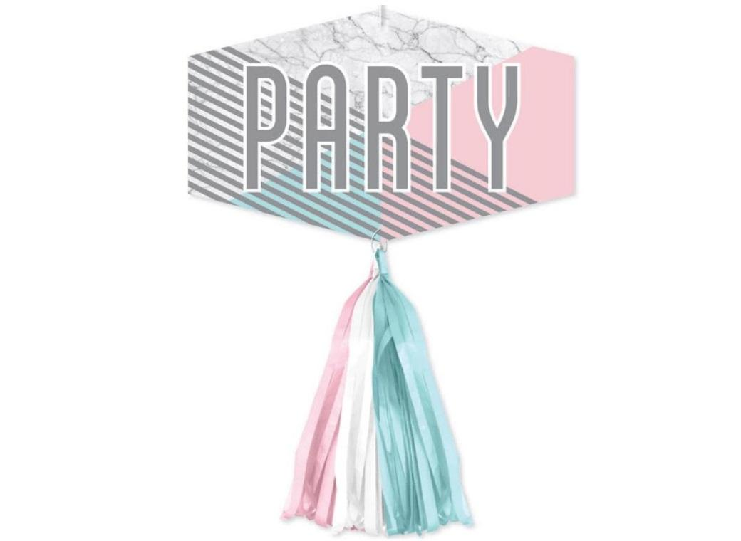 Marble Party Sign & Tassels