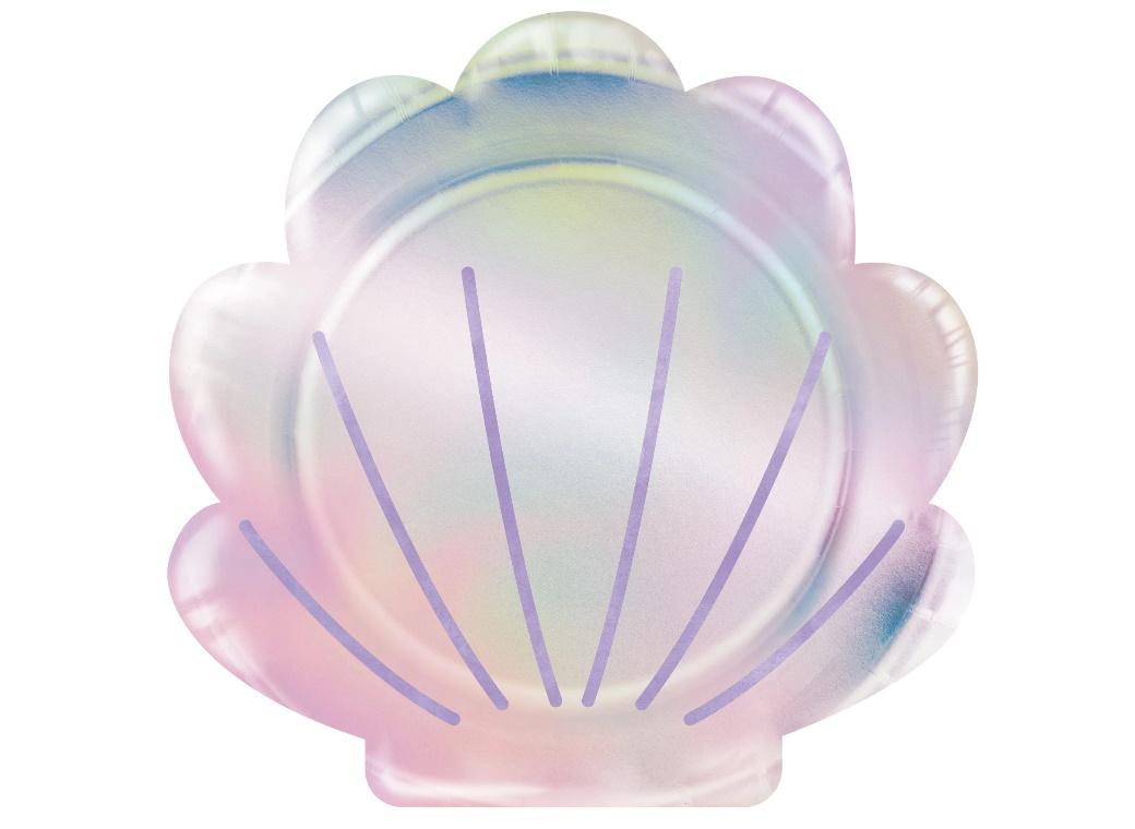 Mermaid Shine Shell Shaped Plates 8pk