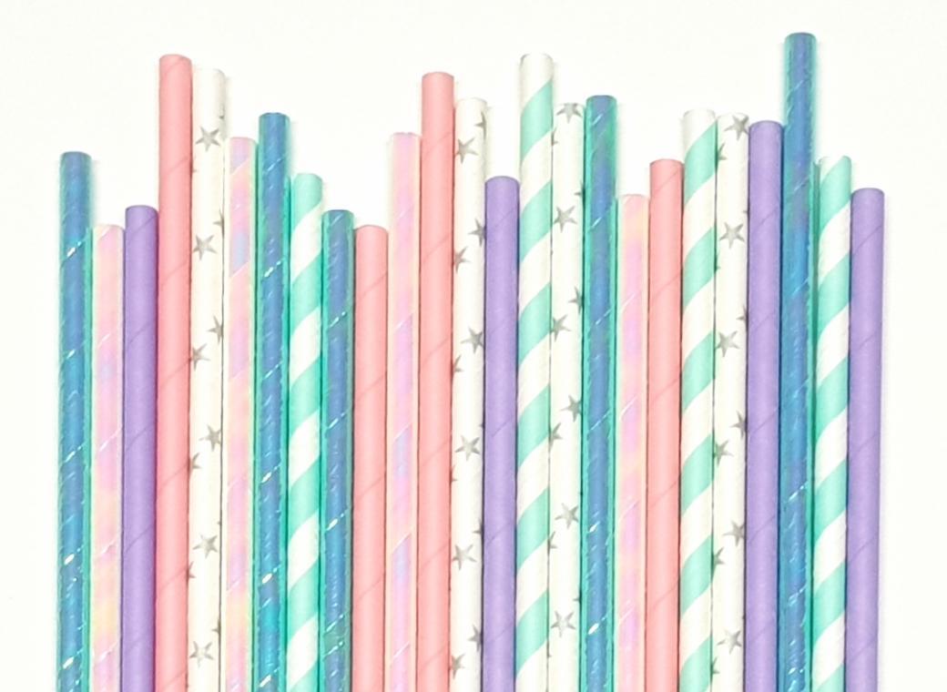 Paper Straws Mix 25pk - Mermaid