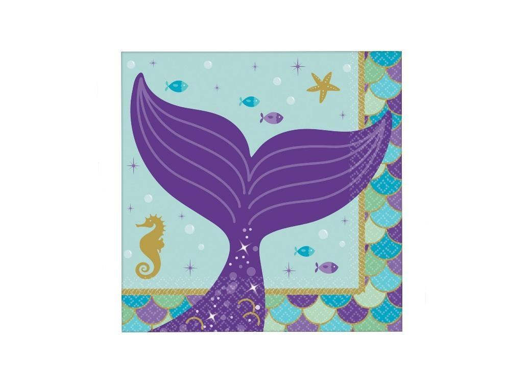 Mermaid Wishes Beverage Napkins 16pk