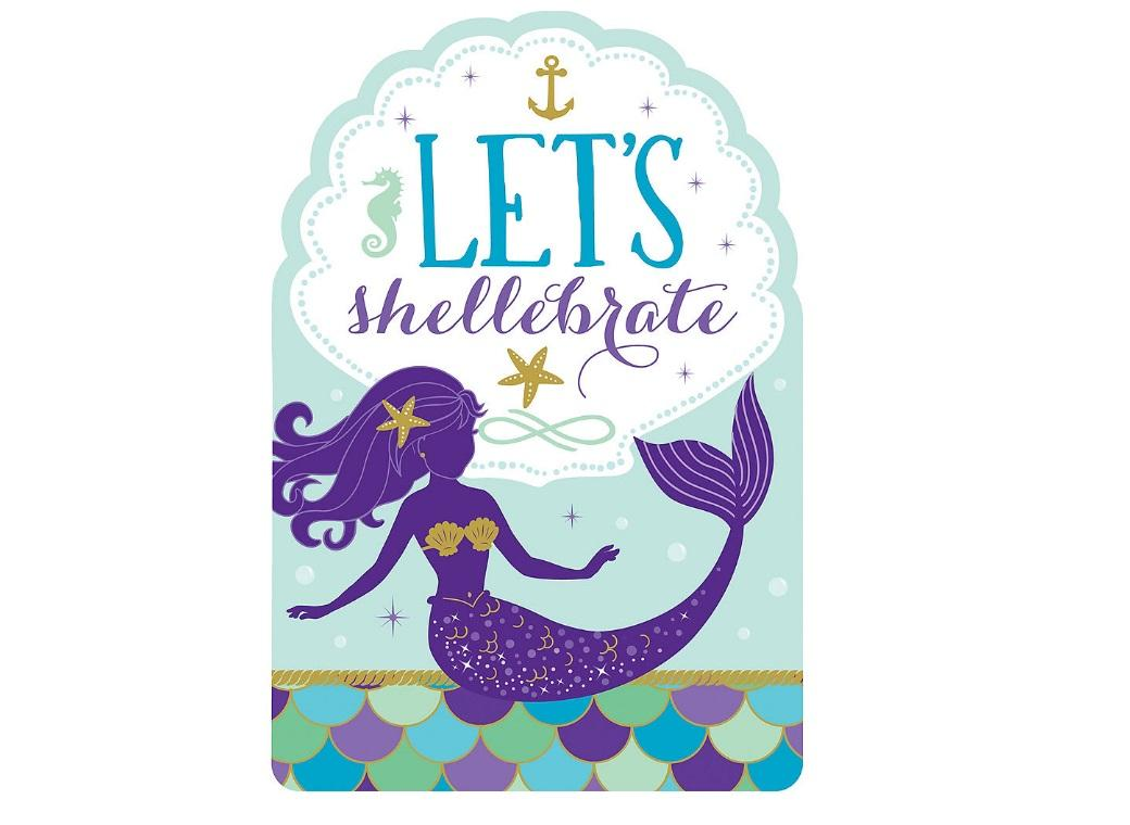 Mermaid Wishes Invitations 8pk