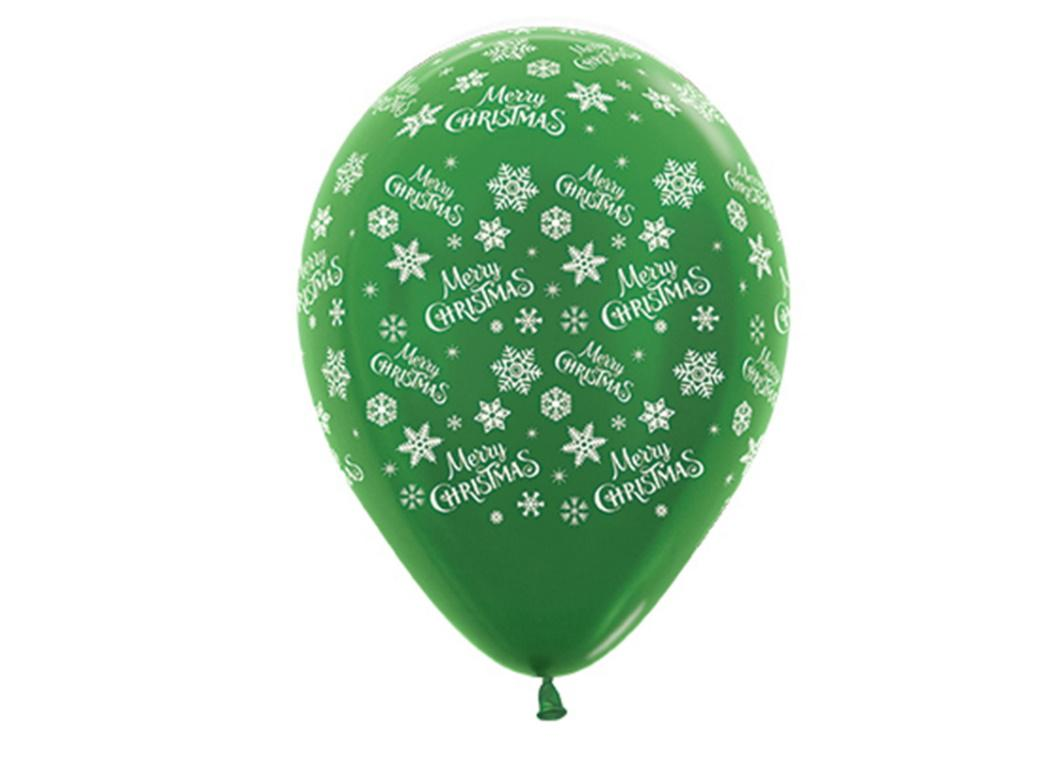 Merry Christmas Metallic Green Balloons 6pk