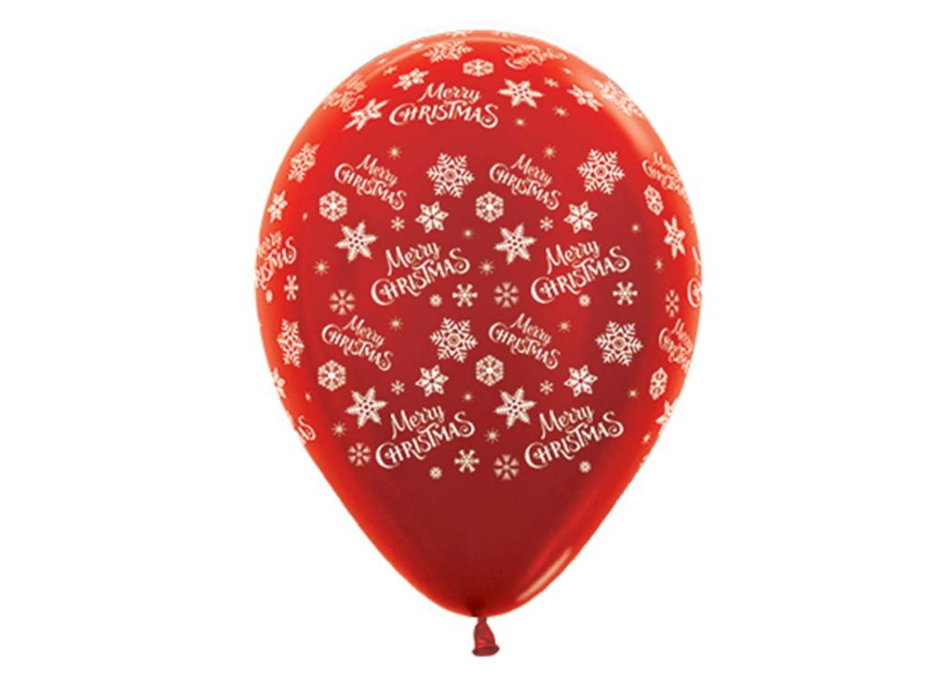 Merry Christmas Metallic Red Balloons 6pk