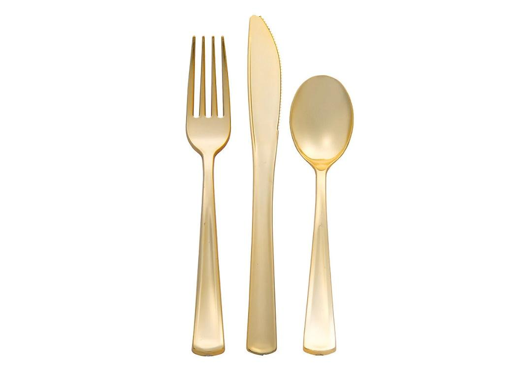 Gold Metallic Plastic Cutlery - 32pk