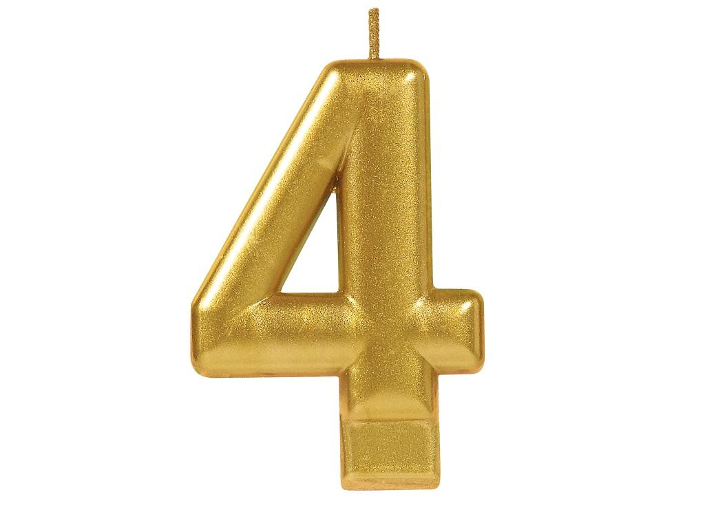 Metallic Gold Candle - Number 4