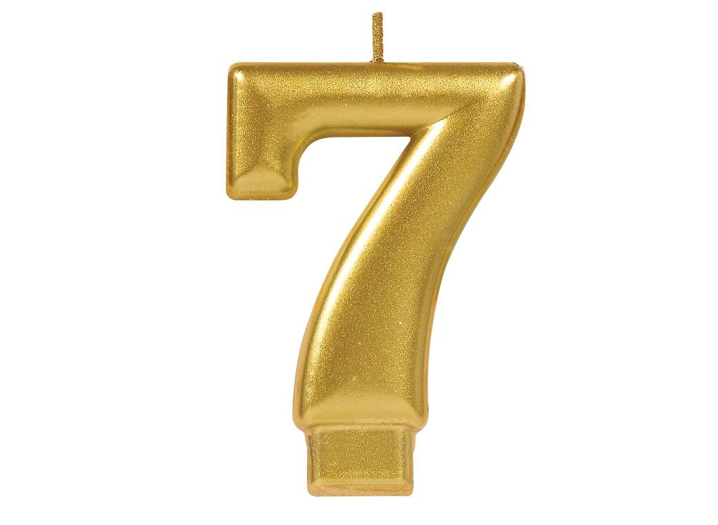 Metallic Gold Candle - Number 7