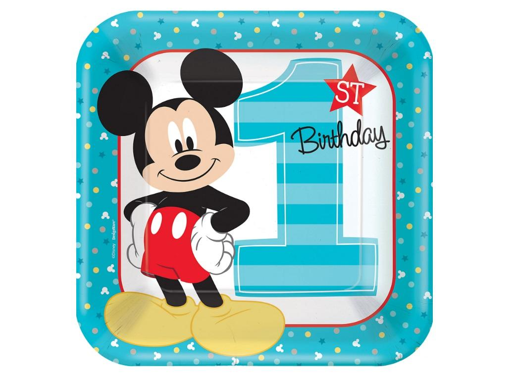 Mickey 1st Birthday Dinner Plates 8pk