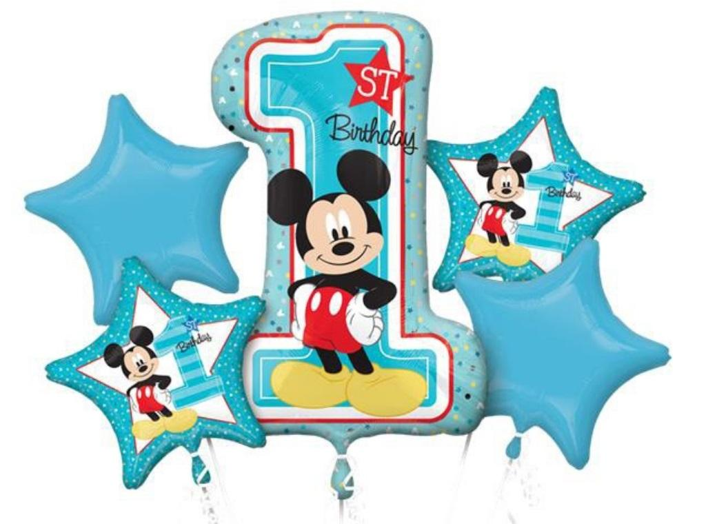 Mickey 1st Birthday Foil Balloon Bouquet
