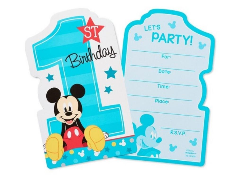 Mickey 1st Birthday Invitations 8pk