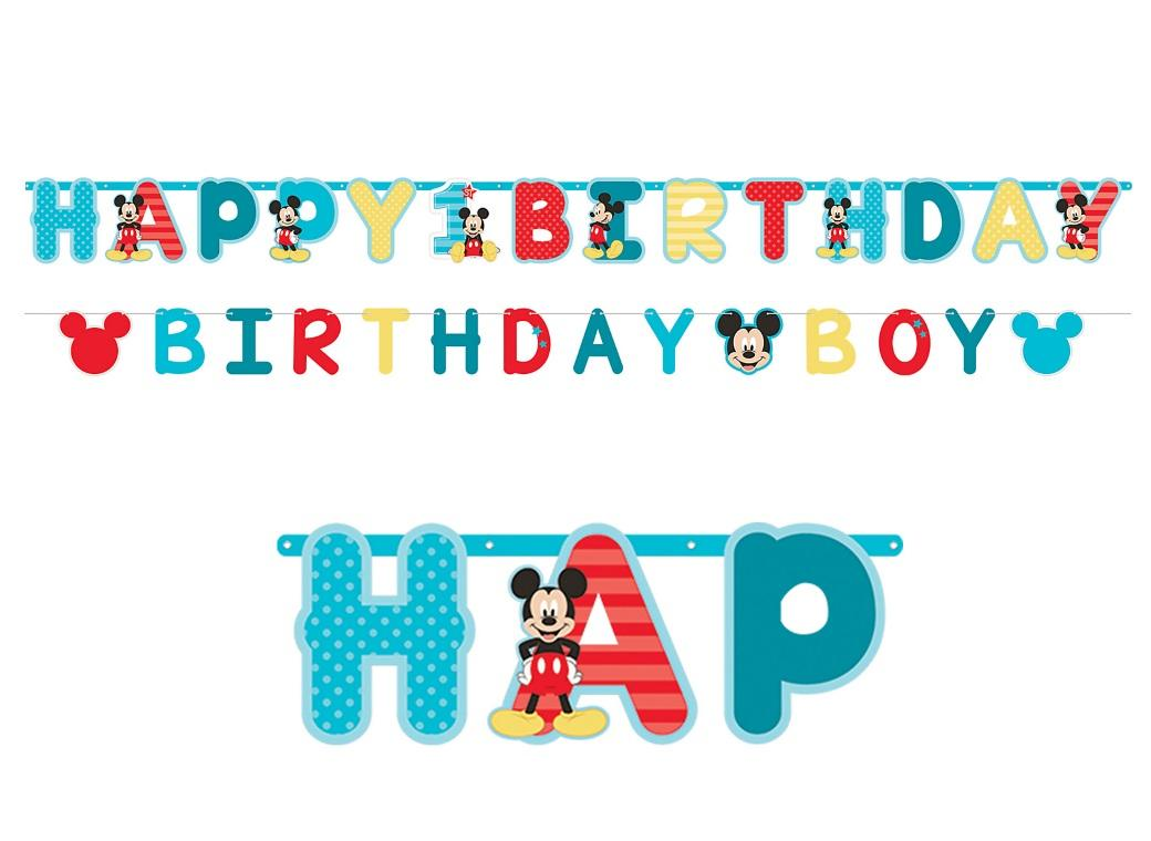 Mickey 1st Birthday Letter Banner
