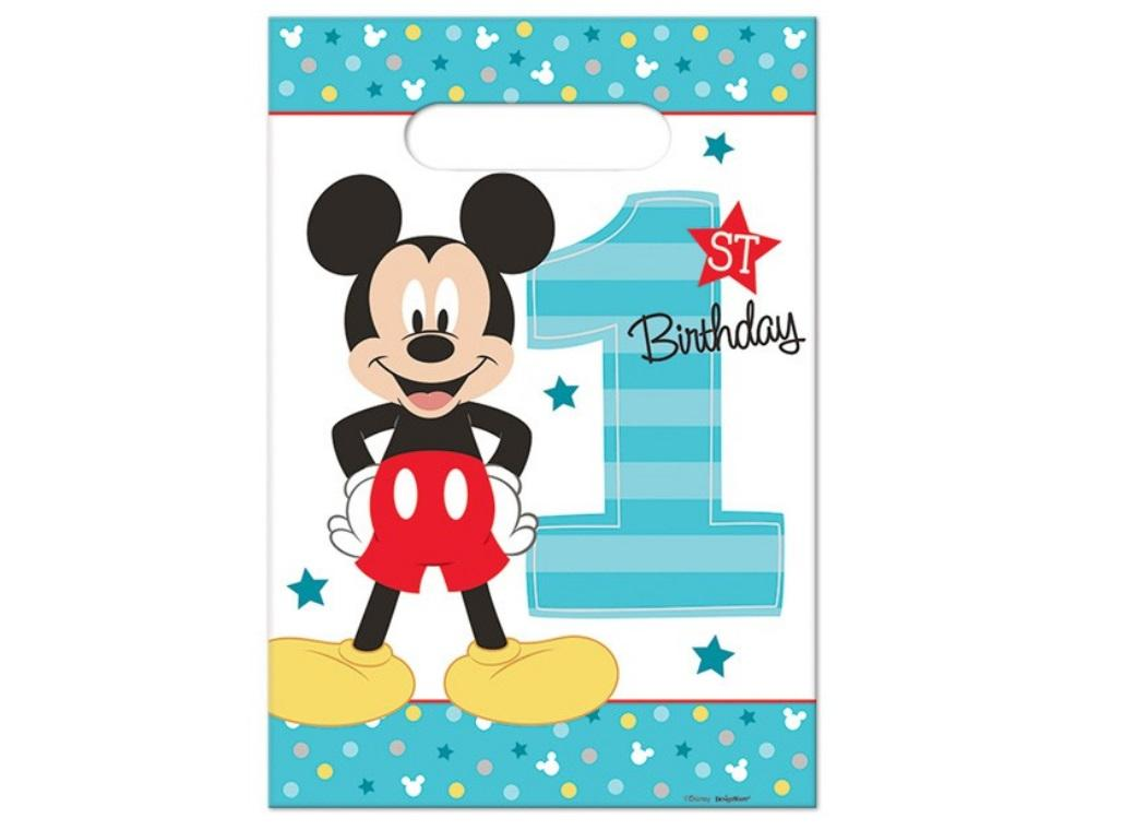 Mickey 1st Birthday Loot Bags 8pk