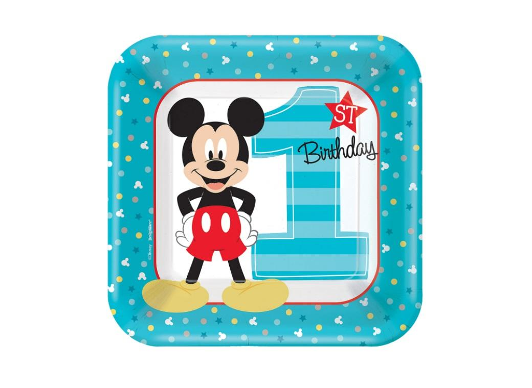 Mickey 1st Birthday Lunch Plates 8pk