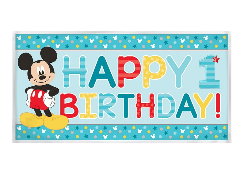 Mickey 1st Birthday Party Banner