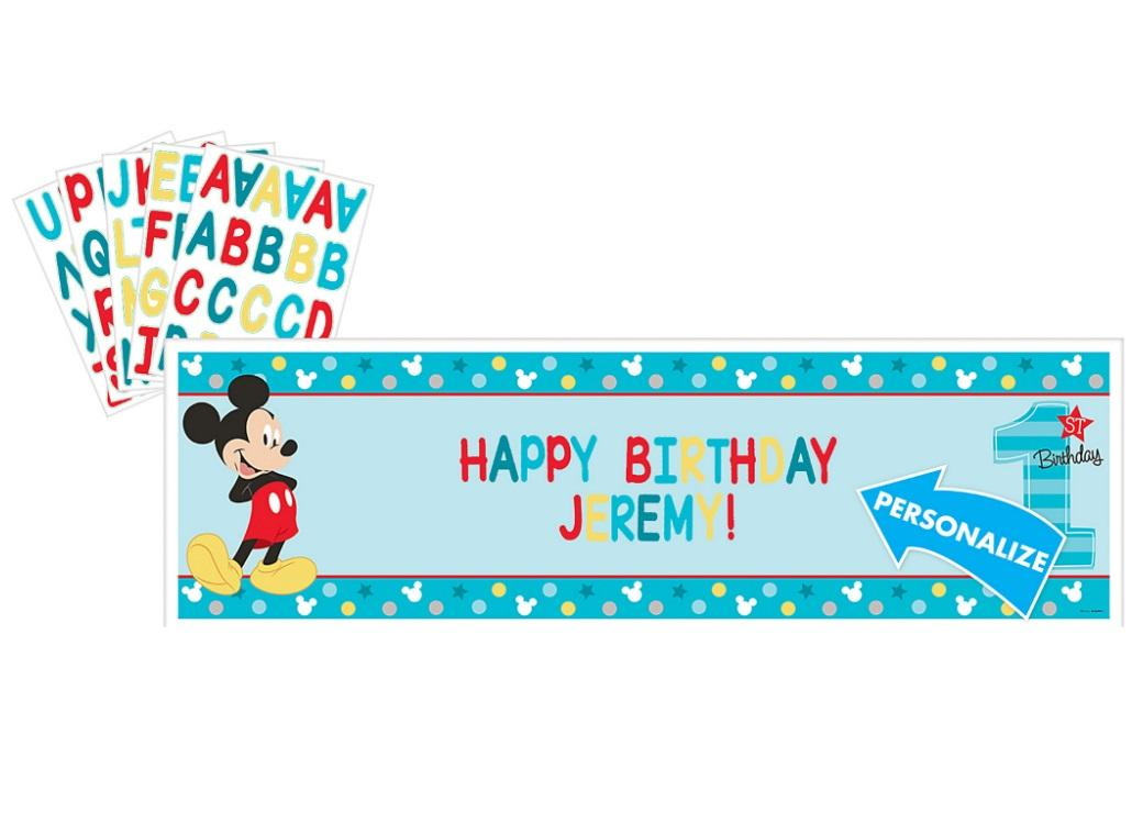 Mickey 1st Birthday Personalised Banner Kit