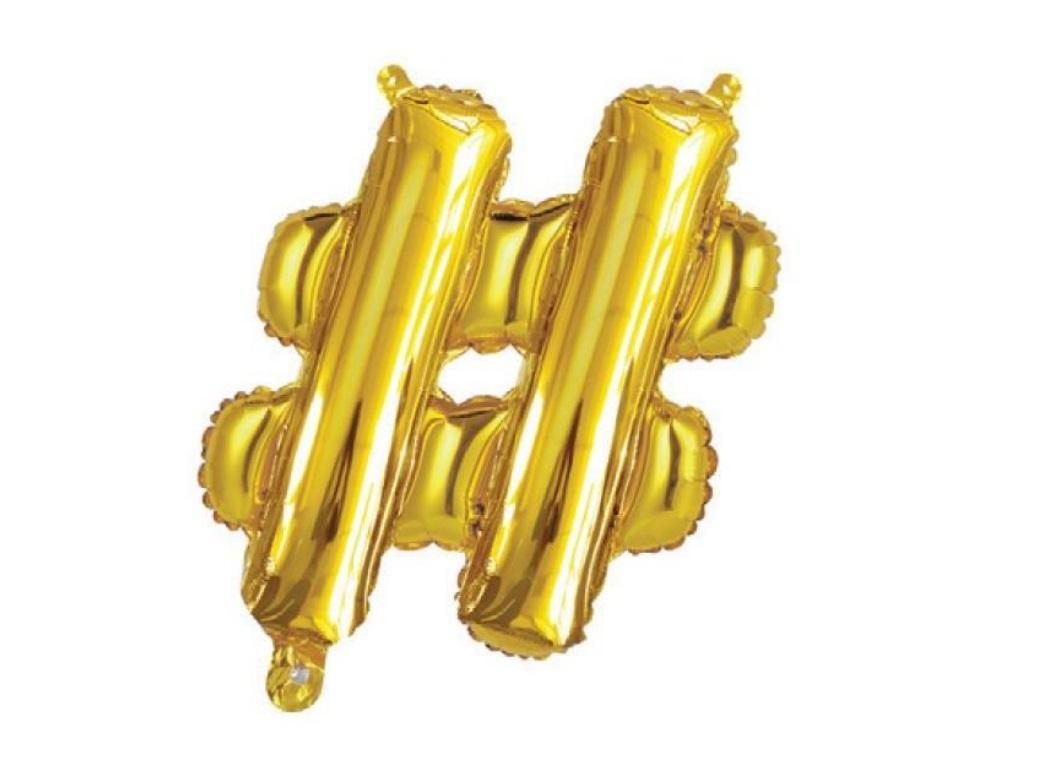 Mini Gold Foil Balloon - # Symbol