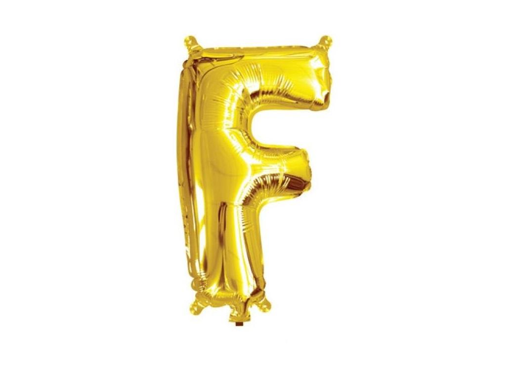 Mini Gold Foil Balloon - Letter F