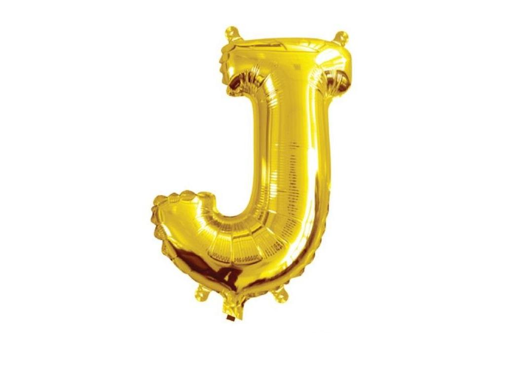 Mini Gold Foil Balloon - Letter J
